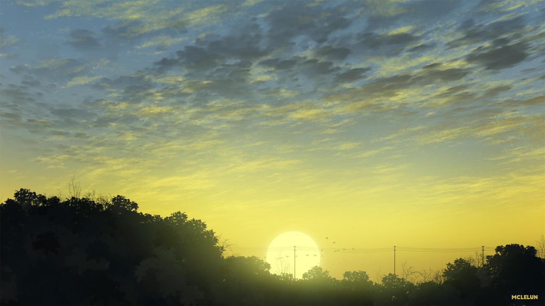 animal bird clouds mclelun nobody original scenic sky sunset tree watermark