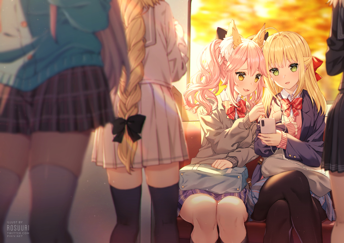 animal_ears blonde_hair bow braids cat_smile fate/grand_order fate_(series) foxgirl green_eyes headphones jeanne_d'arc_(fate) long_hair nero_claudius_(fate) pantyhose phone pink_hair ponytail rosuuri school_uniform skirt tamamo_no_mae_(fate) thighhighs twintails watermark yellow_eyes zettai_ryouiki