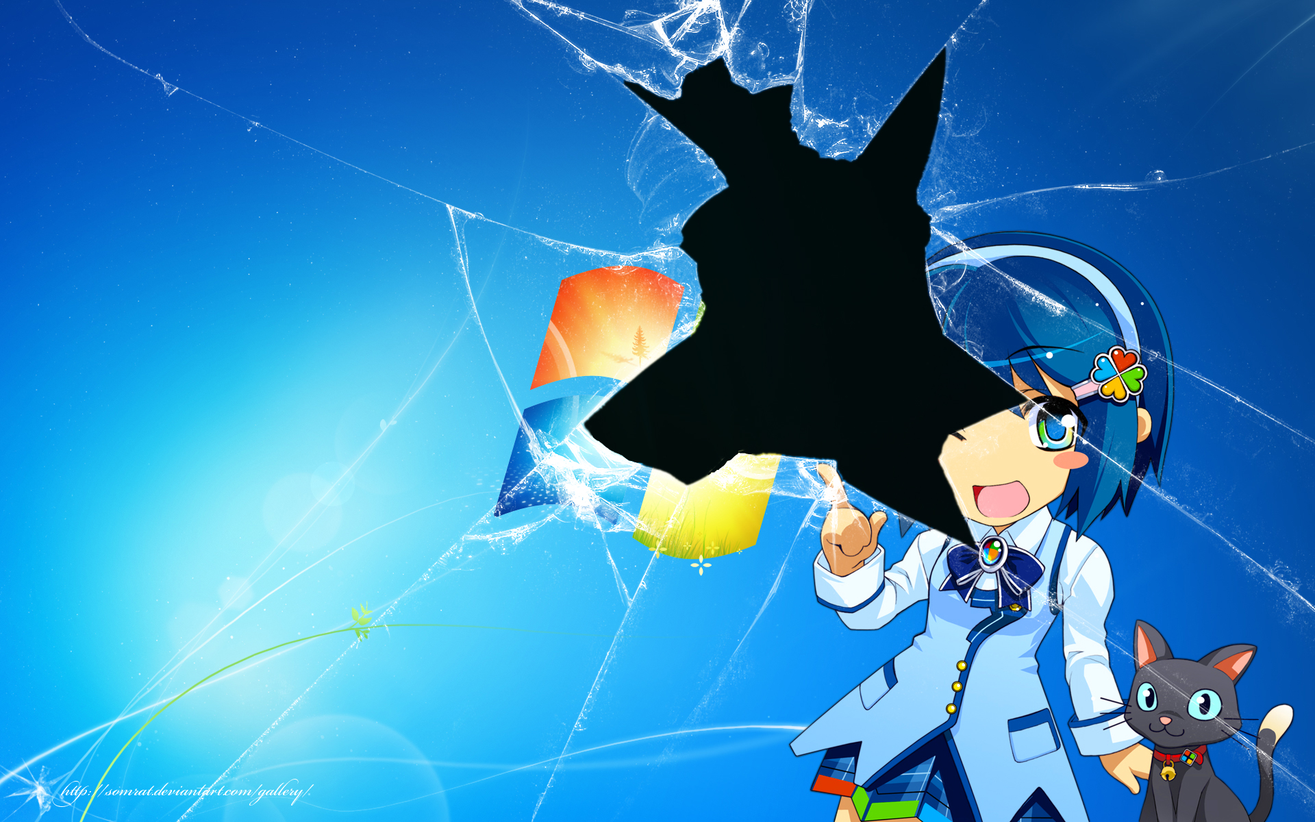 animal blue blue_eyes blue_hair bow cat headband madobe_nanami microsoft os-tan short_hair skirt watermark windows wink