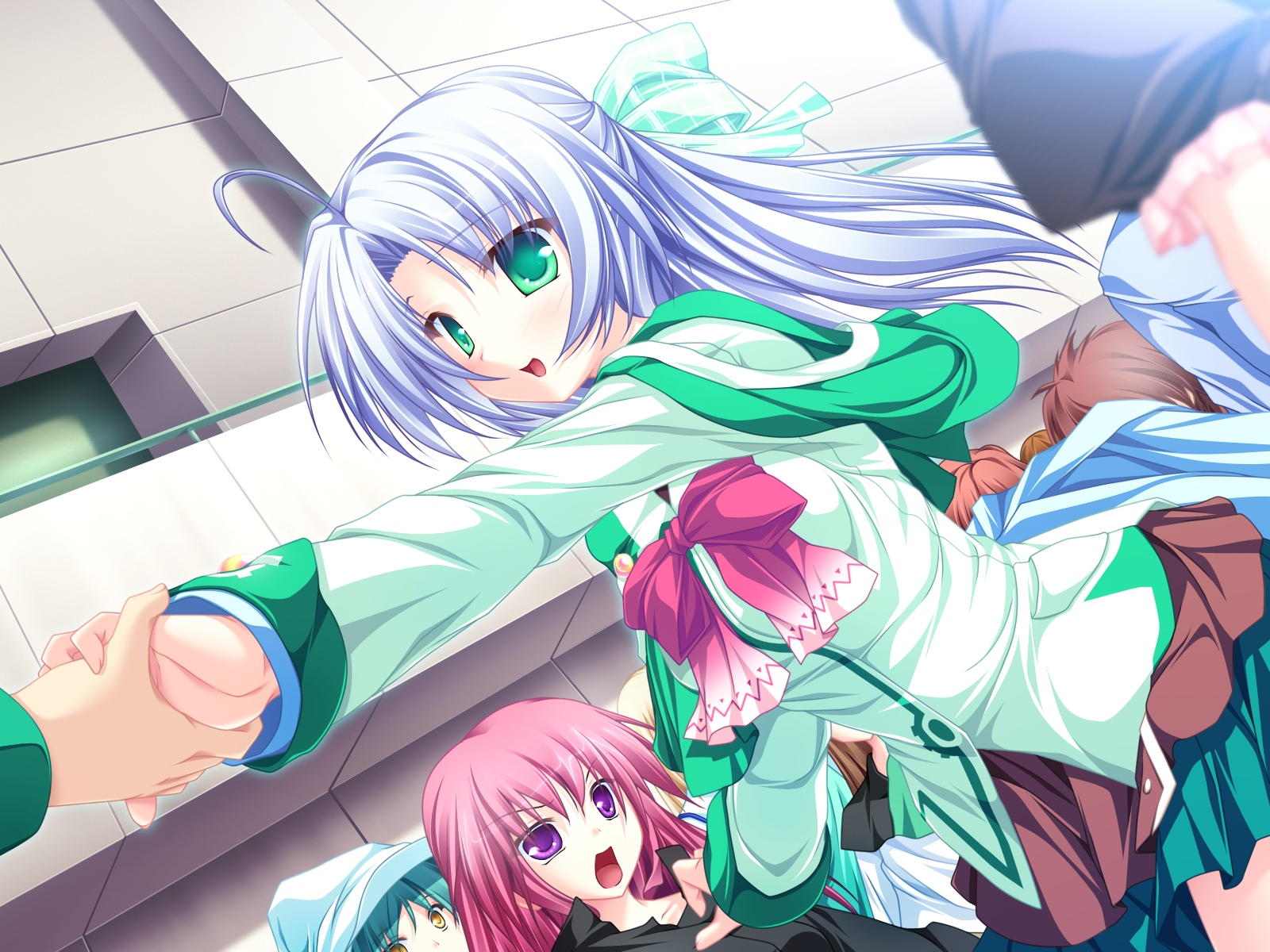 alicia_infans bow game_cg green_eyes long_hair magus_tale purple_hair school_uniform tenmaso whirlpool