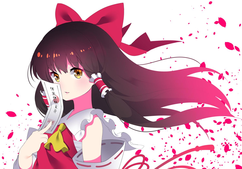 bow brown_eyes brown_hair hakurei_reimu japanese_clothes long_hair miko ofuda petals sarashi touhou underwear white yuujin_(mhhnp306)