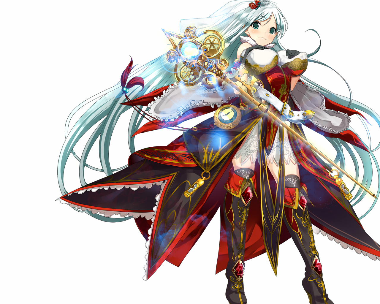 aqua_eyes breast_hold breasts dress erect_nipples long_hair meiyaku_no_guardian_knights staff yam2344