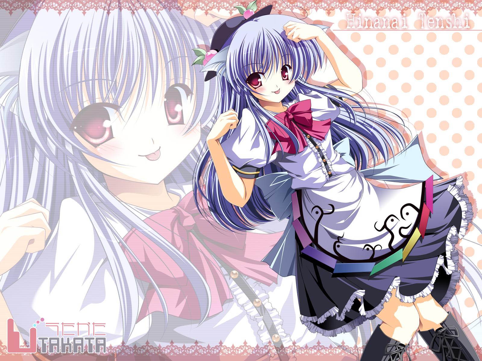 animal_ears blush boots hat hinanawi_tenshi long_hair purple_hair red_eyes skirt touhou zoom_layer
