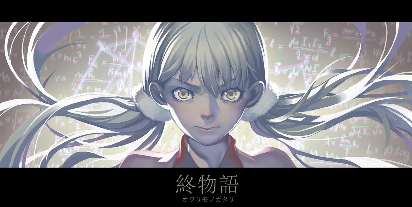 blonde_hair close long_hair madyy monogatari_(series) owarimonogatari sodachi_oikura twintails yellow_eyes