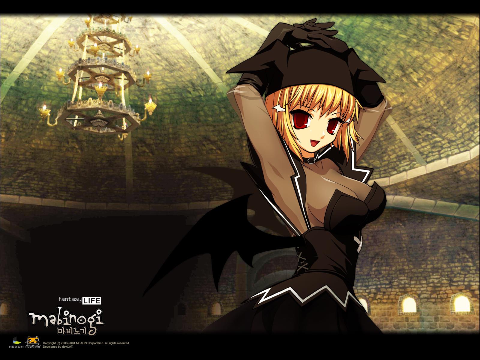 blonde_hair breasts cleavage demon dress elbow_gloves gloves mabinogi red_eyes succubus wings