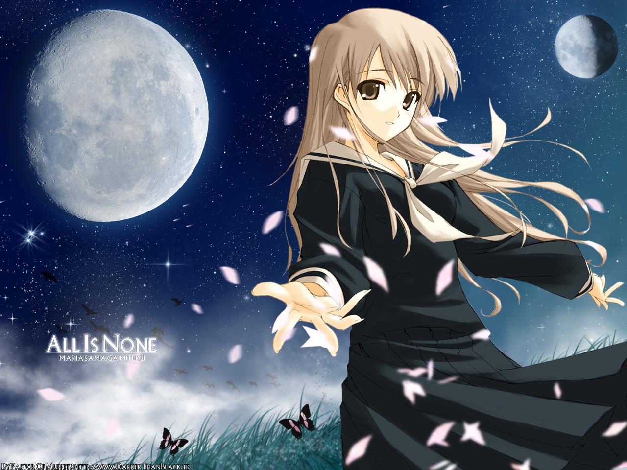 blonde_hair brown_eyes butterfly cherry_blossoms flowers maria-sama_ga_miteru moon night petals planet toudou_shimako