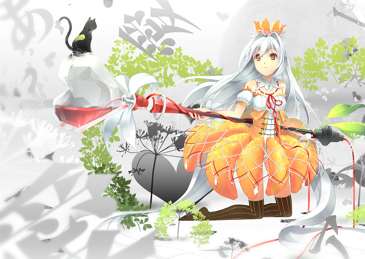 animal cat dress flowers hat long_hair original stockings tree white_hair yellow_eyes yoshino_ryou