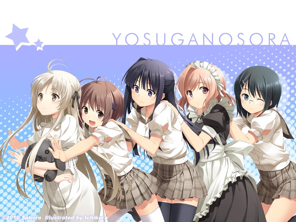 amatsume_akira glasses ichikura kasugano_sora maid migiwa_kazuha nogisaka_motoka school_uniform thighhighs wink yorihime_nao yosuga_no_sora
