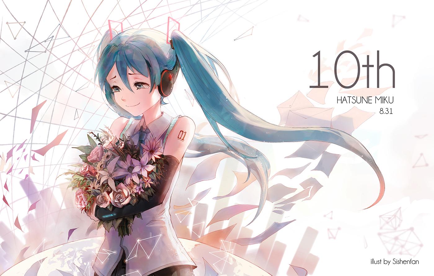 blue_eyes blue_hair flowers hatsune_miku headphones long_hair sishenfan tattoo tears tie vocaloid watermark