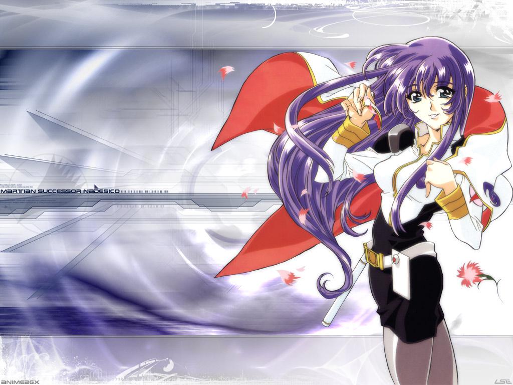 blue_eyes long_hair martian_successor_nadesico misumaru_yurika petals purple_hair uniform