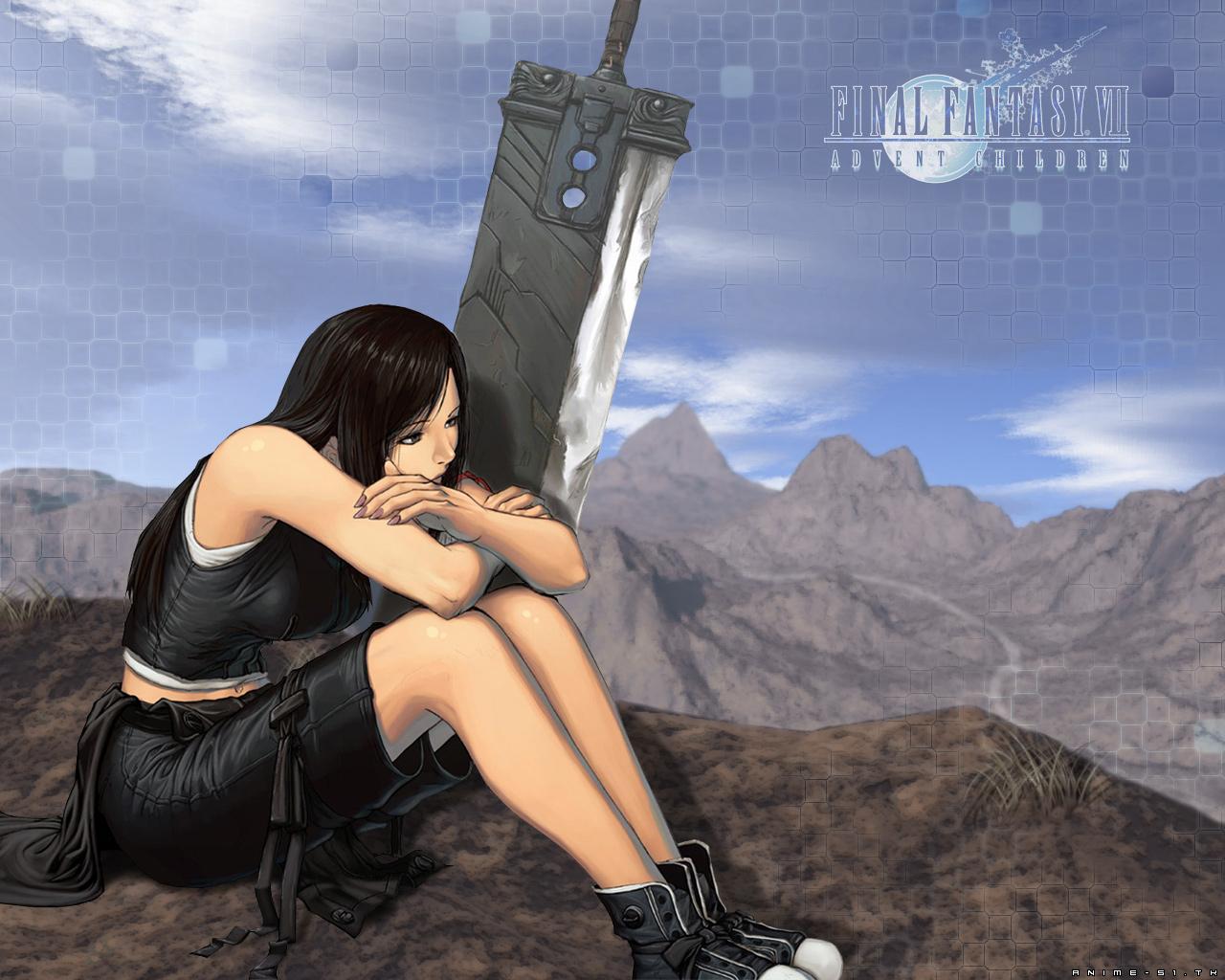 black_hair final_fantasy final_fantasy_vii long_hair tifa_lockhart weapon