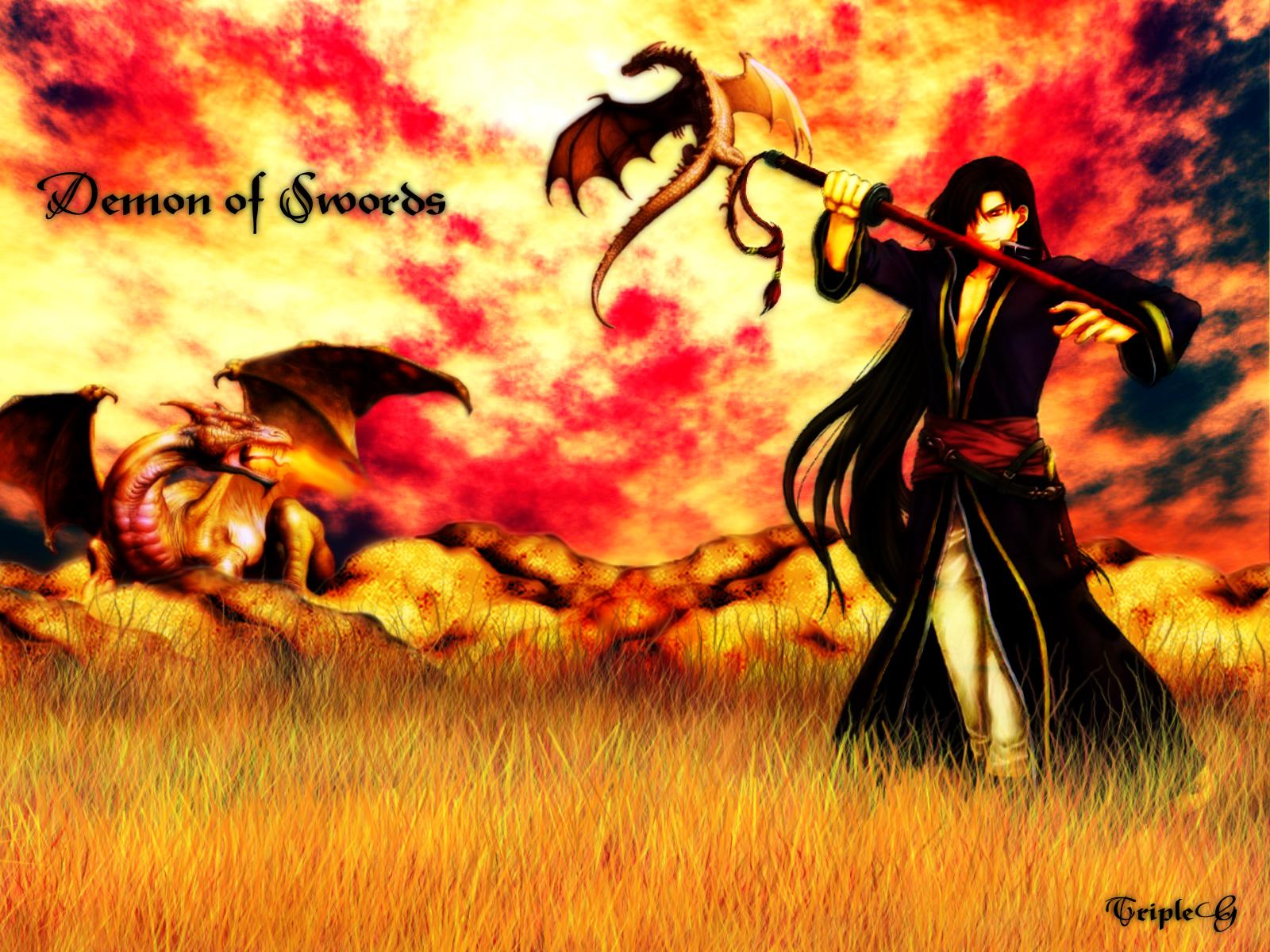 brown_hair dragon fire fire_emblem karel_(fire_emblem) long_hair sword tripleg weapon wings
