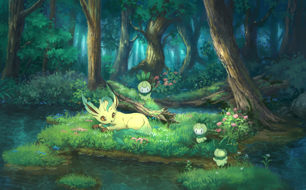 flowers forest grass leafeon nobody petilil pippi_(p3i2) pokemon scenic tree water
