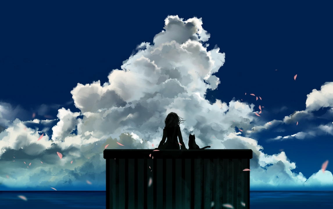 animal cat clouds original petals sanamisa scenic silhouette sky water