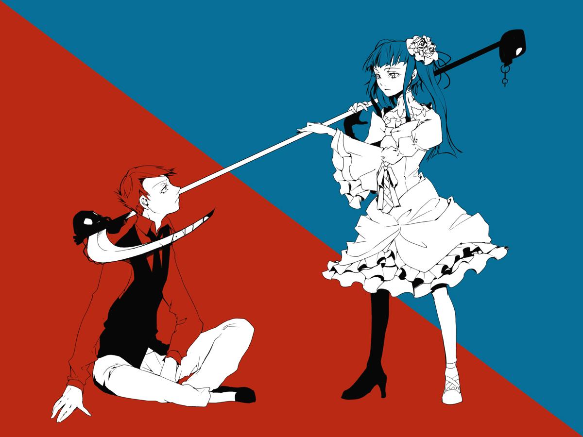 35_(pixiv) blue_hair bow dress furudo_erika long_hair male polychromatic red_hair scythe short_hair skull tie twintails umineko_no_naku_koro_ni ushiromiya_battler weapon