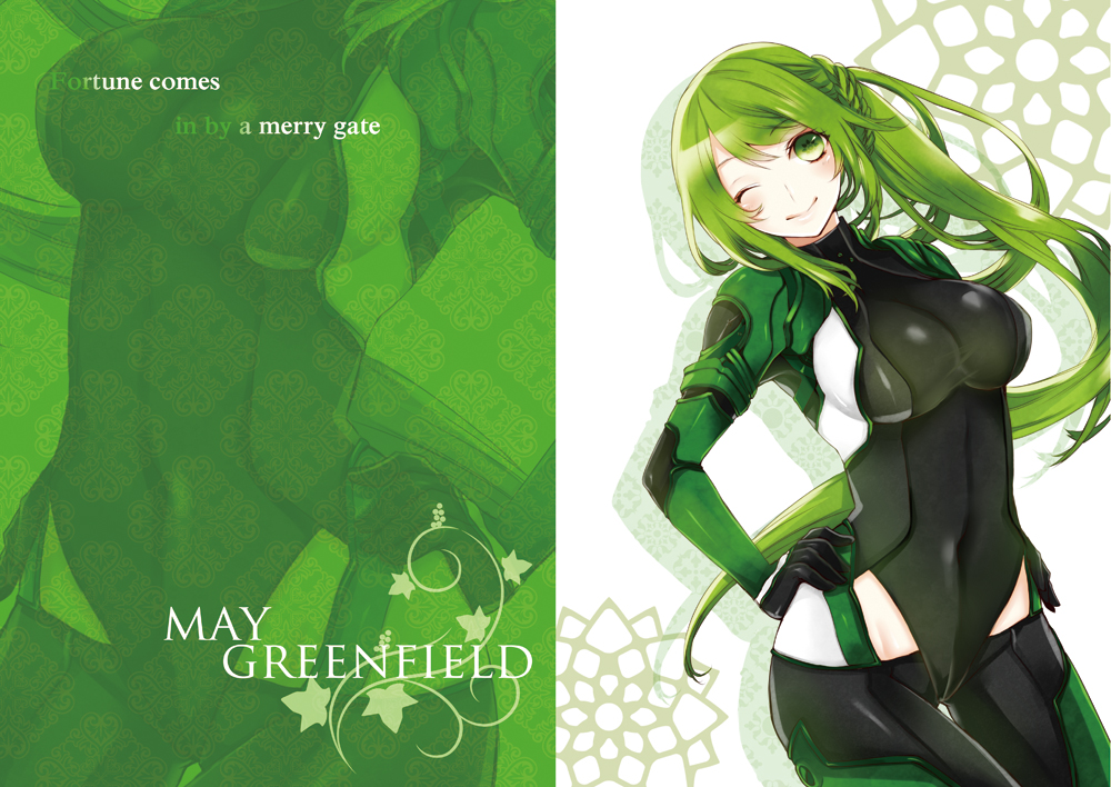 armored_core armored_core:_for_answer green_eyes green_hair long_hair may_greenfield ponytail skintight ut_(apt) wink