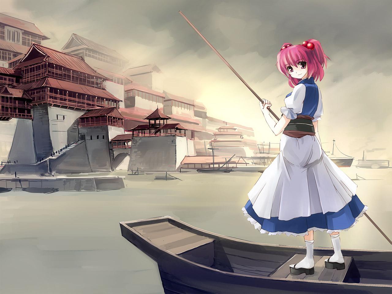 onozuka_komachi pink_eyes pink_hair scythe touhou weapon