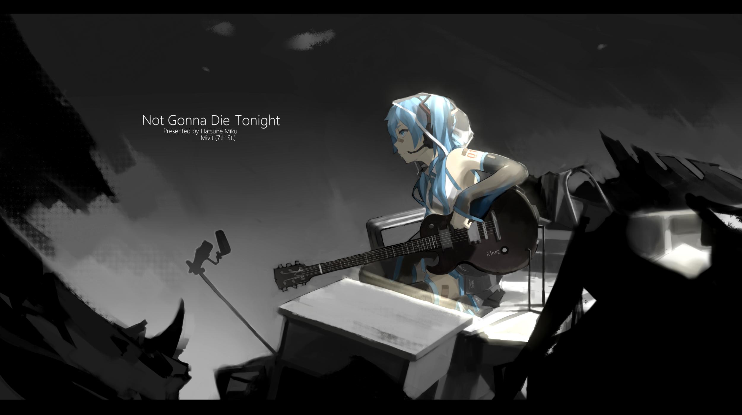 aqua hair dark guitar -#main
