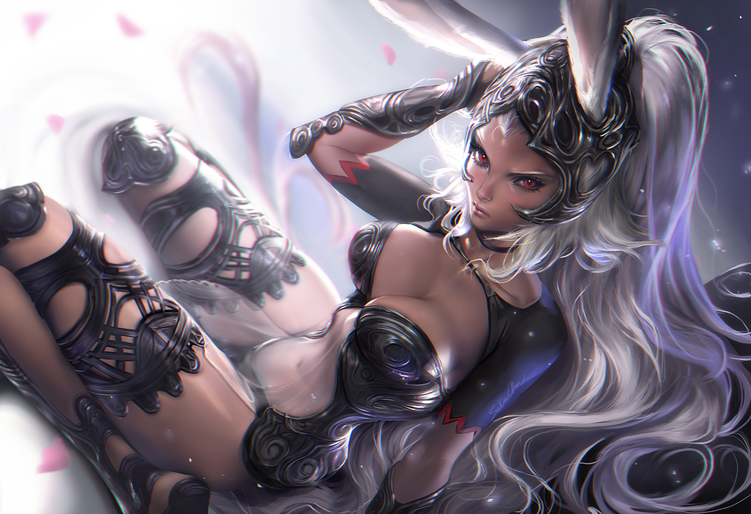 animal_ears armor breasts bunny_ears bunnygirl choker cleavage dark_skin final_fantasy final_fantasy_xii fran gray_hair headdress navel red_eyes sakimichan see_through