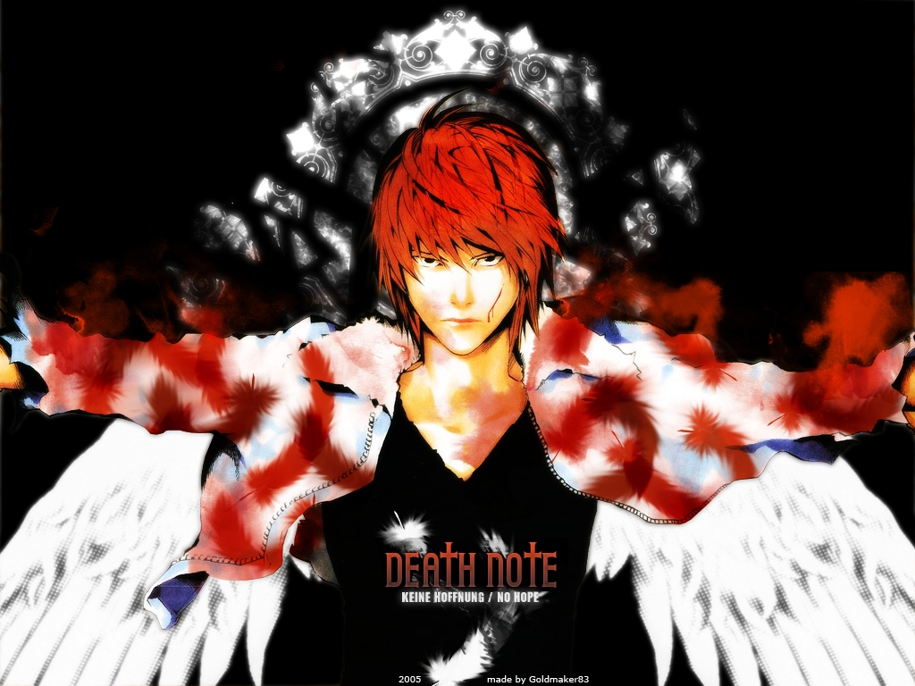 all_male blood death_note feathers male red_hair wings yagami_light