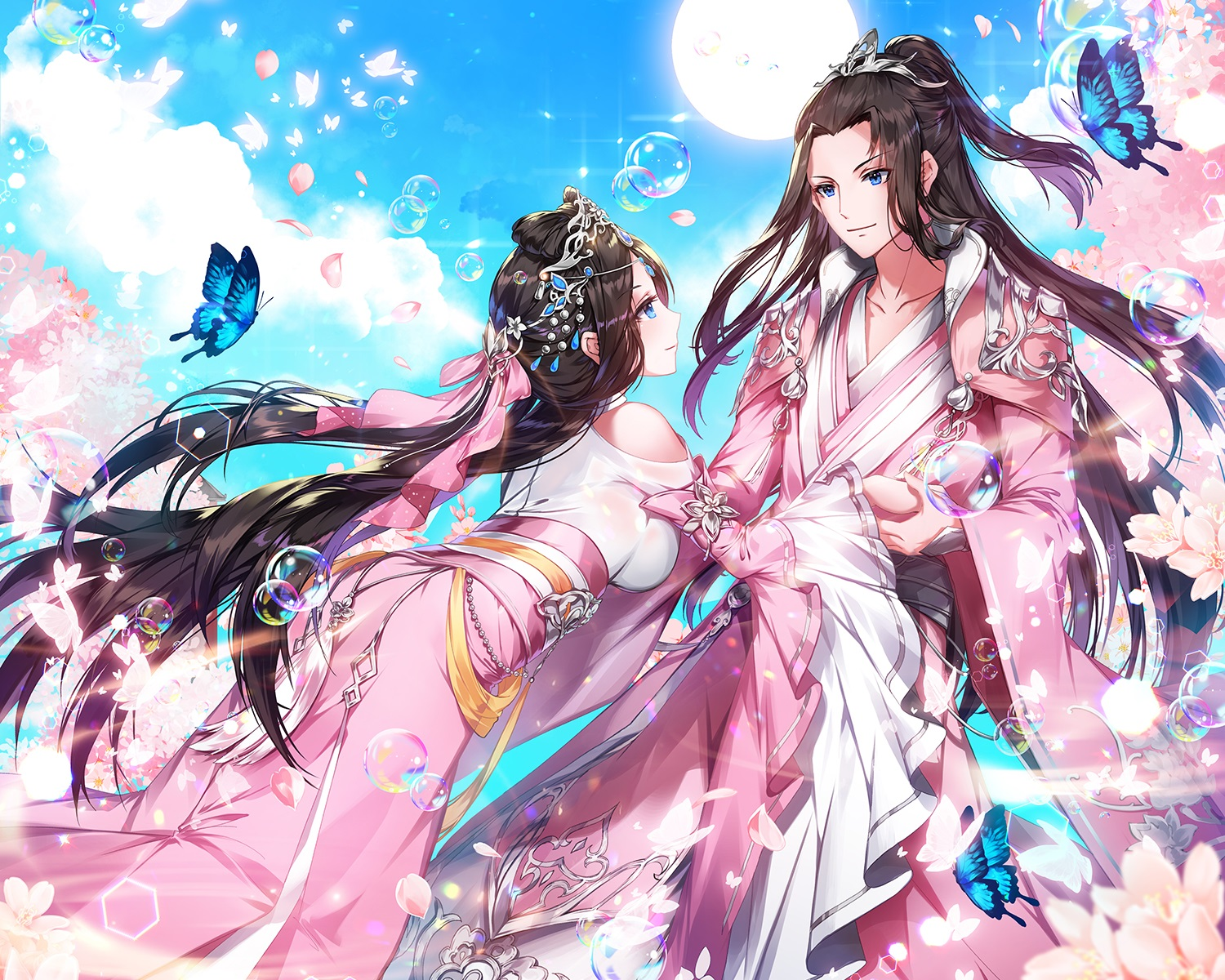 applecaramel_(acaramel) aqua_eyes black_hair bubbles butterfly cherry_blossoms clouds cropped flowers headdress long_hair male petals ponytail sky