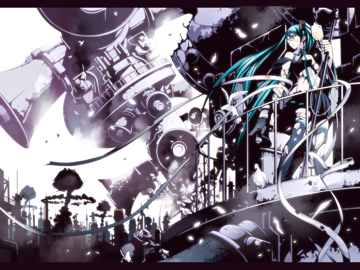 bandage eyepatch green_eyes green_hair hatsune_miku long_hair thighhighs torigoe_takumi torn_clothes twintails vocaloid