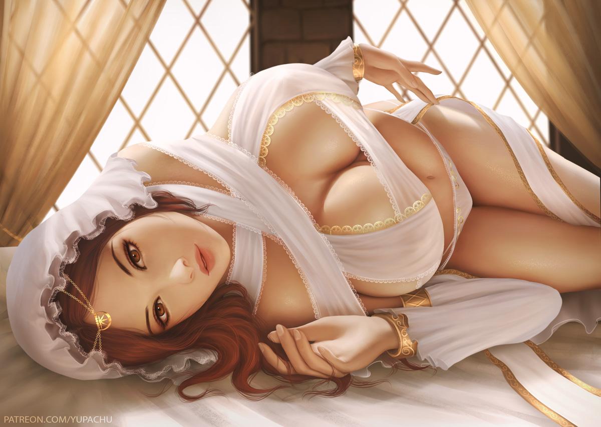bed breasts brown_eyes brown_hair cleavage dark_souls headdress long_hair navel panties queen_of_sunlight_gwynevere realistic underwear watermark wristwear yupachu