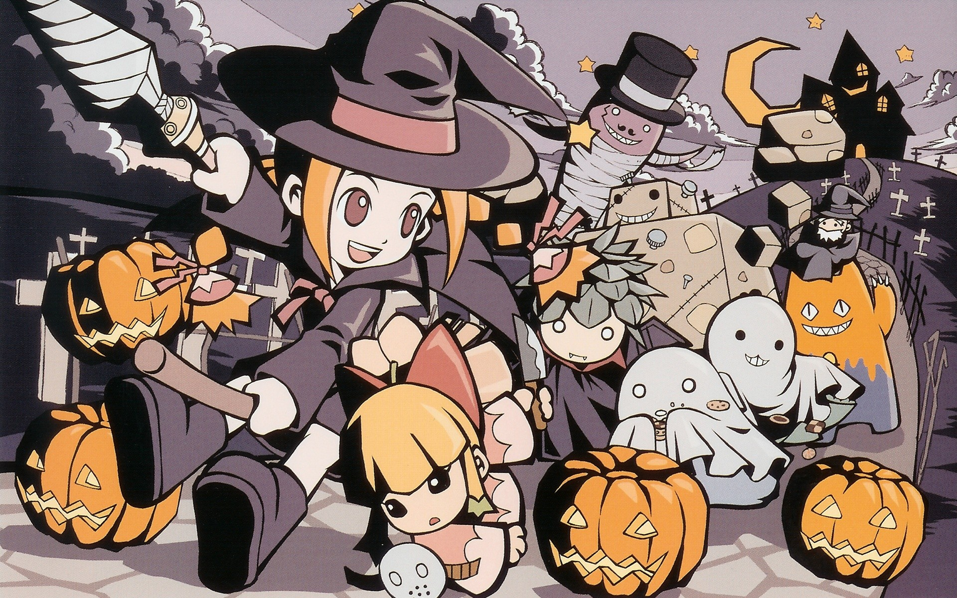 bandage blonde_hair boots bow building cape clouds fang food green_hair group gurumin halloween hat mask moon orange_hair pumpkin robot sky staff stars vampire weapon wings witch