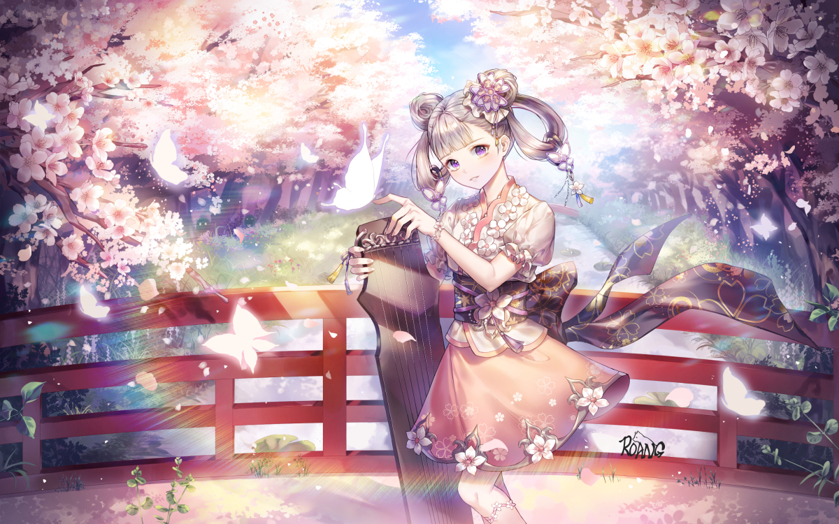 aliasing brown_hair butterfly cherry_blossoms chinese_clothes flowers instrument original roang signed tree