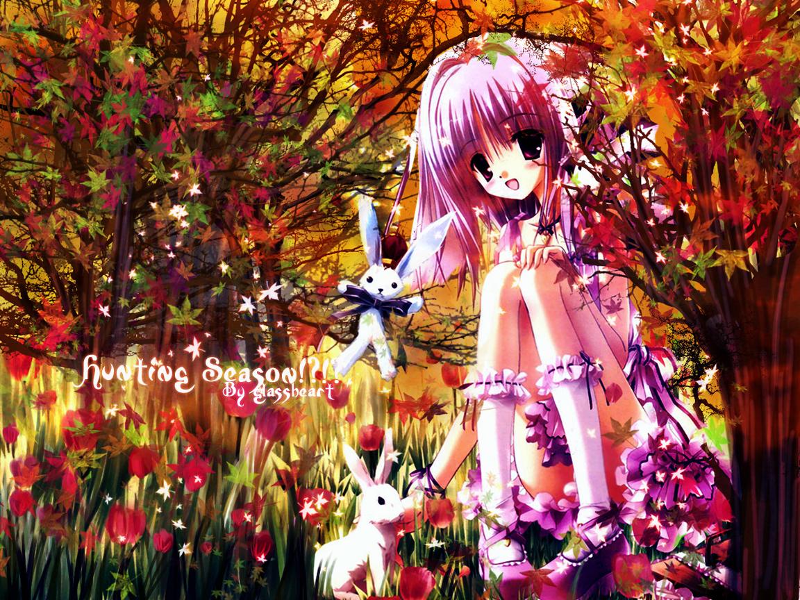 animal autumn brown_eyes bunny flowers kneehighs purple_hair rabbit short_hair tree