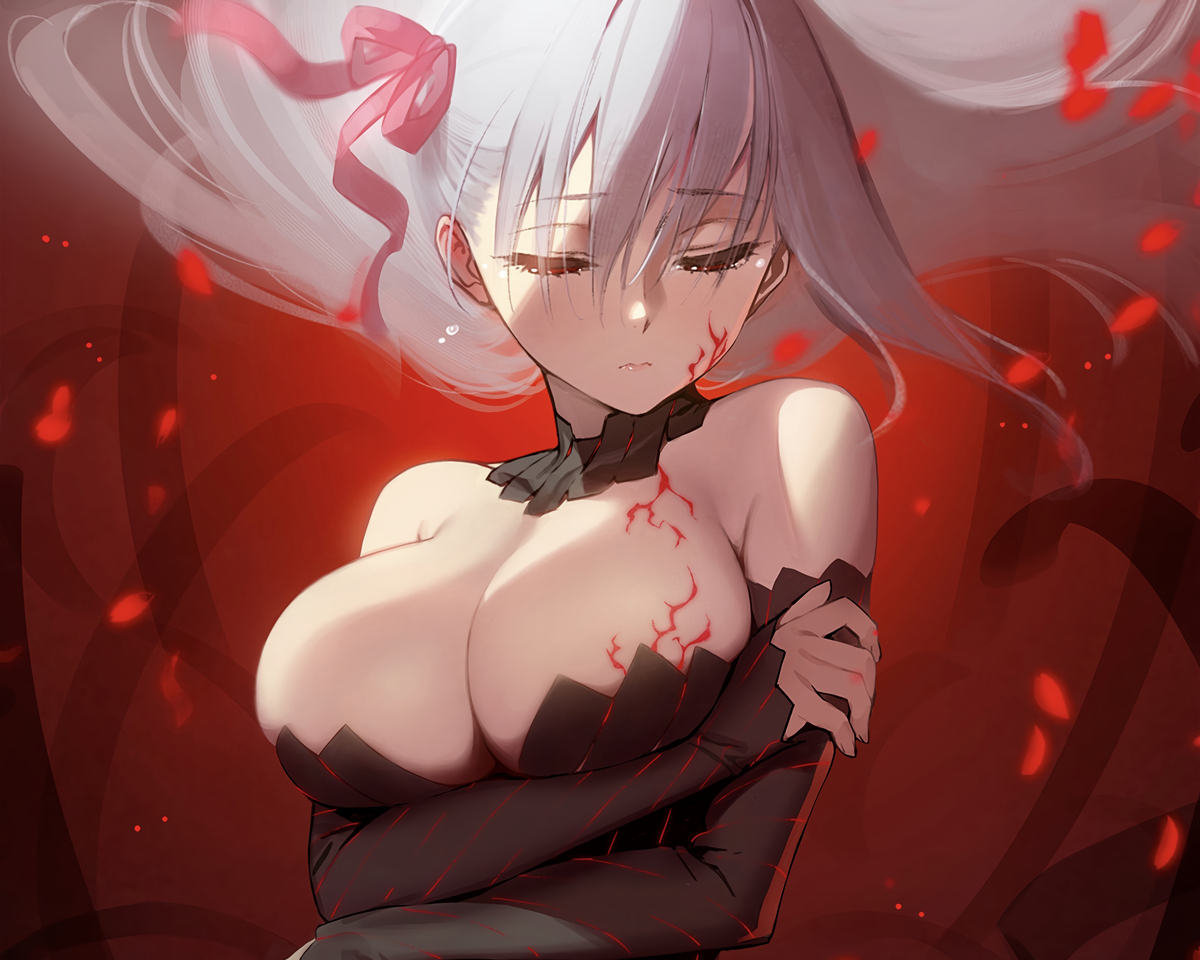 breast_hold breasts choker cleavage cropped dark_matou_sakura fate_(series) fate/stay_night long_hair matou_sakura petals ribbons siino white_hair