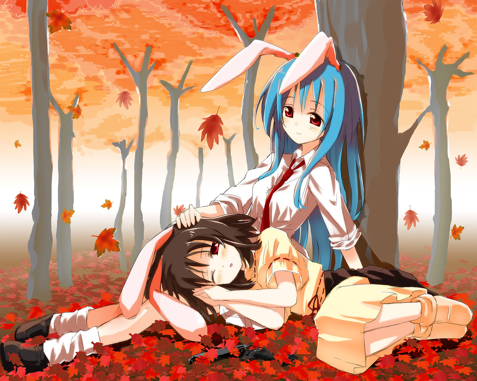 animal_ears autumn blue_hair blush brown_hair bunny_ears bunnygirl forest gochou_(comedia80) inaba_tewi leaves long_hair red_eyes reisen_udongein_inaba short_hair tie touhou tree wink