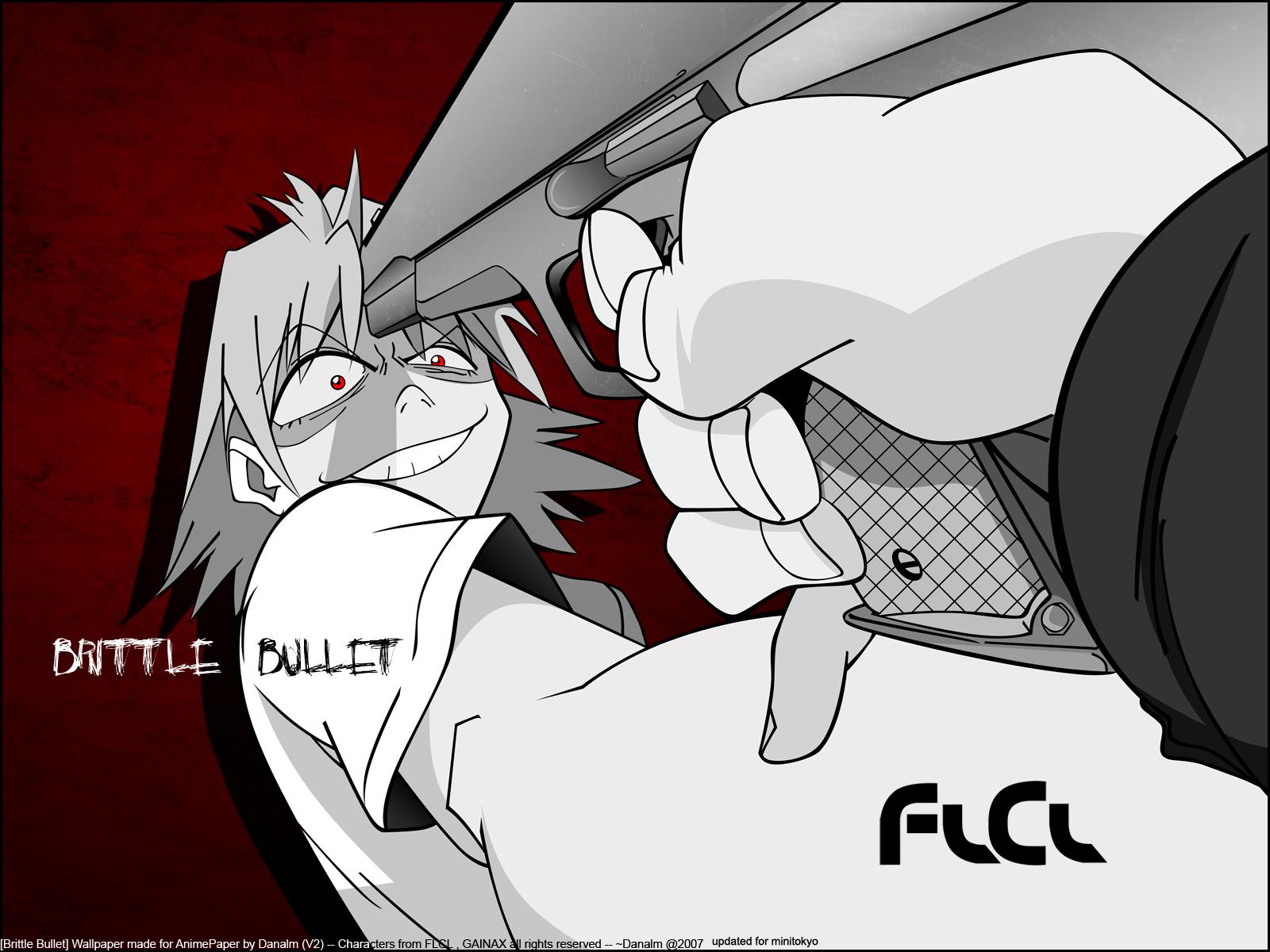 flcl gainax gun haruhara_haruko polychromatic red_eyes short_hair watermark weapon