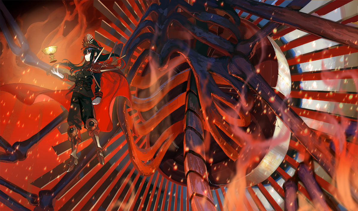 black_hair bones boots cape fate/grand_order fate_(series) hat ka_4maki long_hair nobunaga_oda_(fate) red_eyes uniform