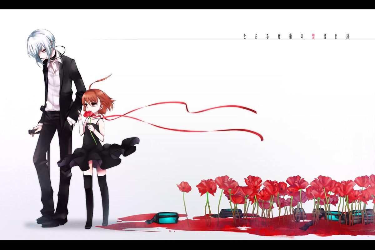 accelerator blood brown_hair choker dress flowers kani last_order red_eyes ribbons short_hair to_aru_majutsu_no_index white_hair