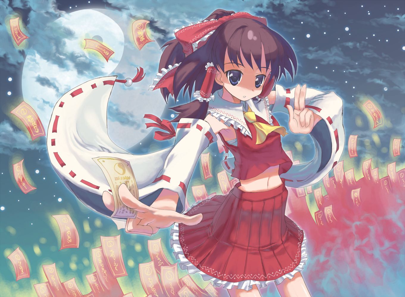 aliasing blue_eyes brown_hair hakurei_reimu japanese_clothes miko moon naox navel ofuda short_hair sky touhou