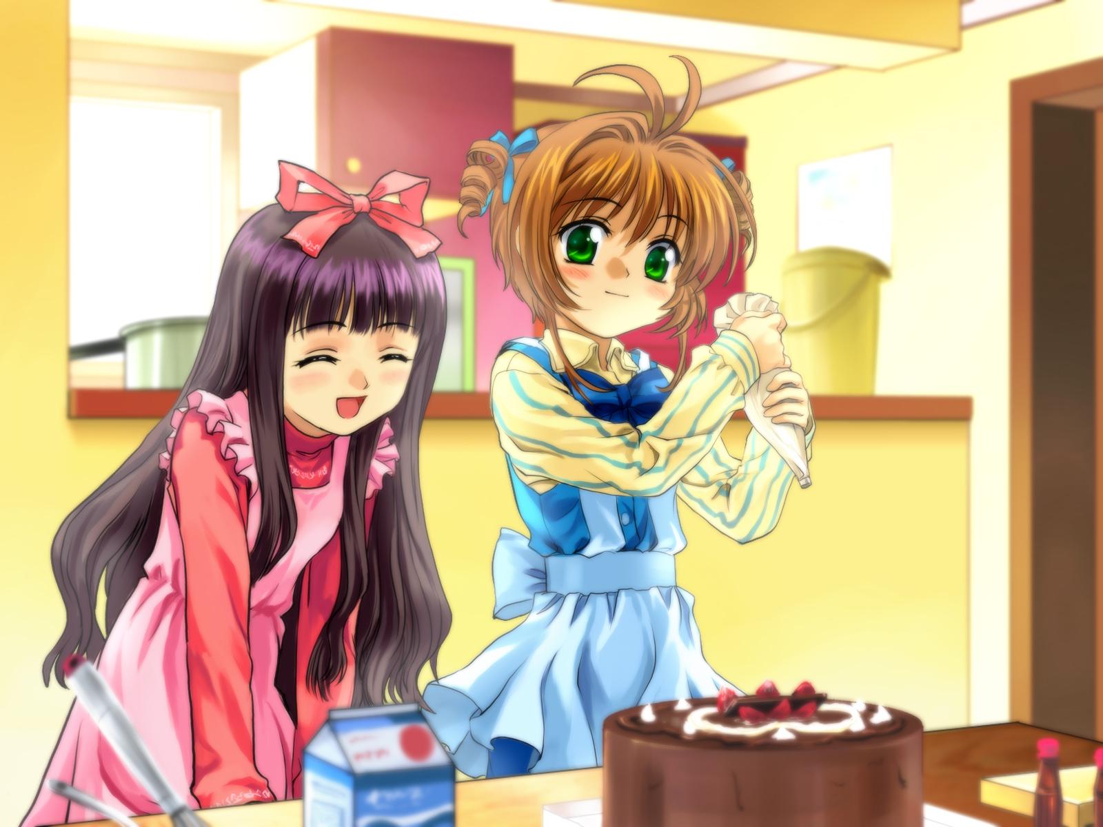 2girls apron black_hair blush brown_hair cake card_captor_sakura daidouji_tomoyo food fruit green_eyes kinomoto_sakura long_hair moonknives ribbons short_hair strawberry