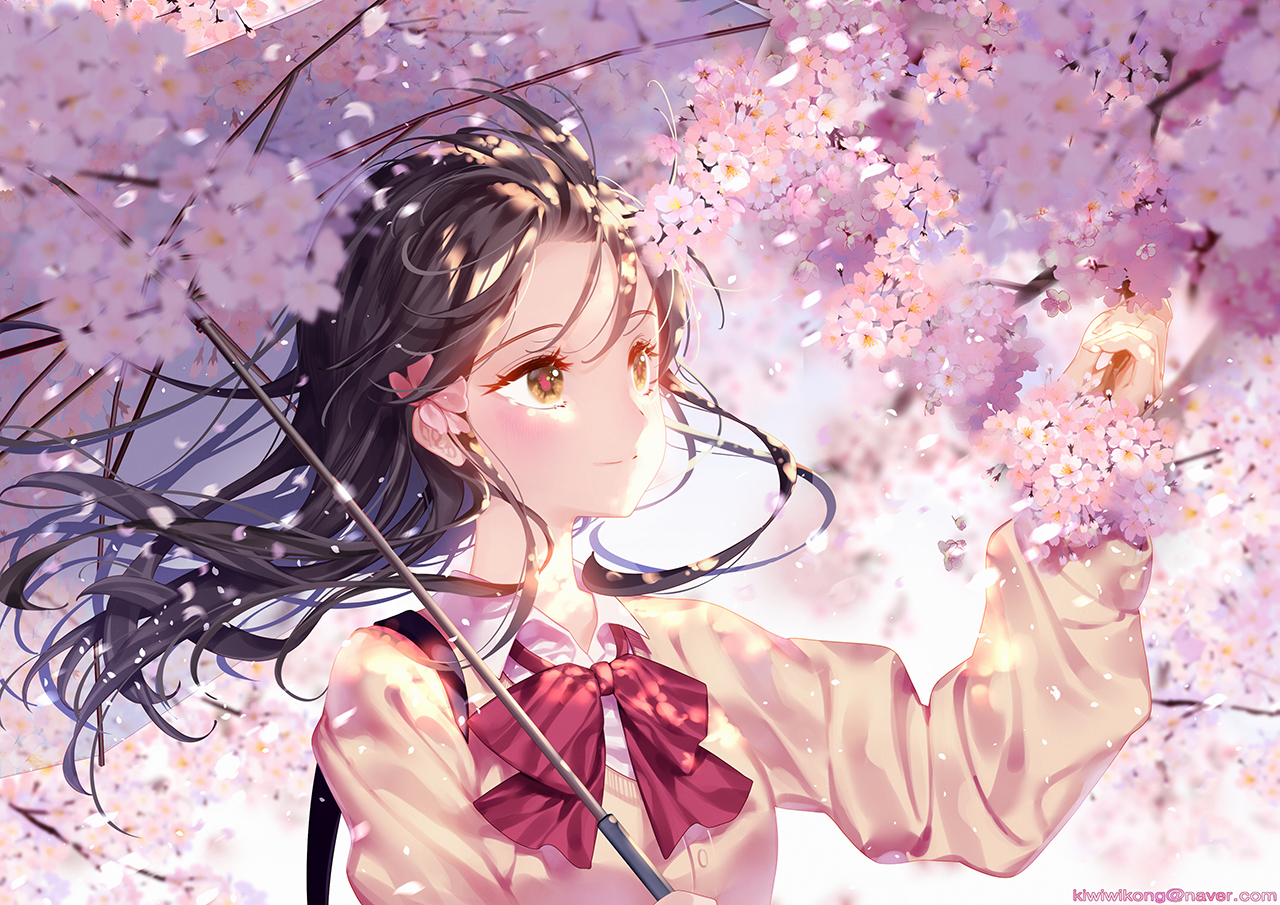 cherry_blossoms flowers kiwikong original petals school_uniform umbrella yellow_eyes