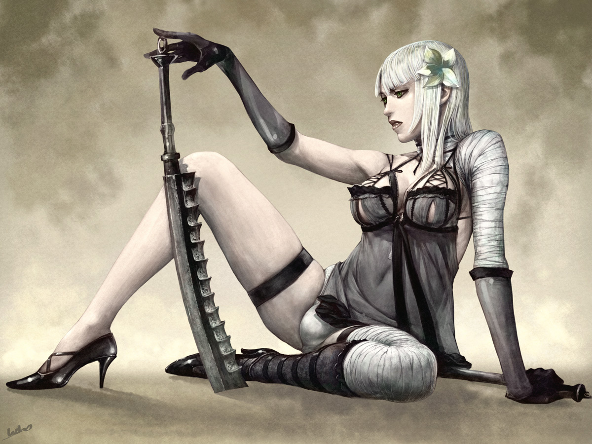 elbow_gloves futanari gloves kaine navel nier thighhighs weapon white_hair