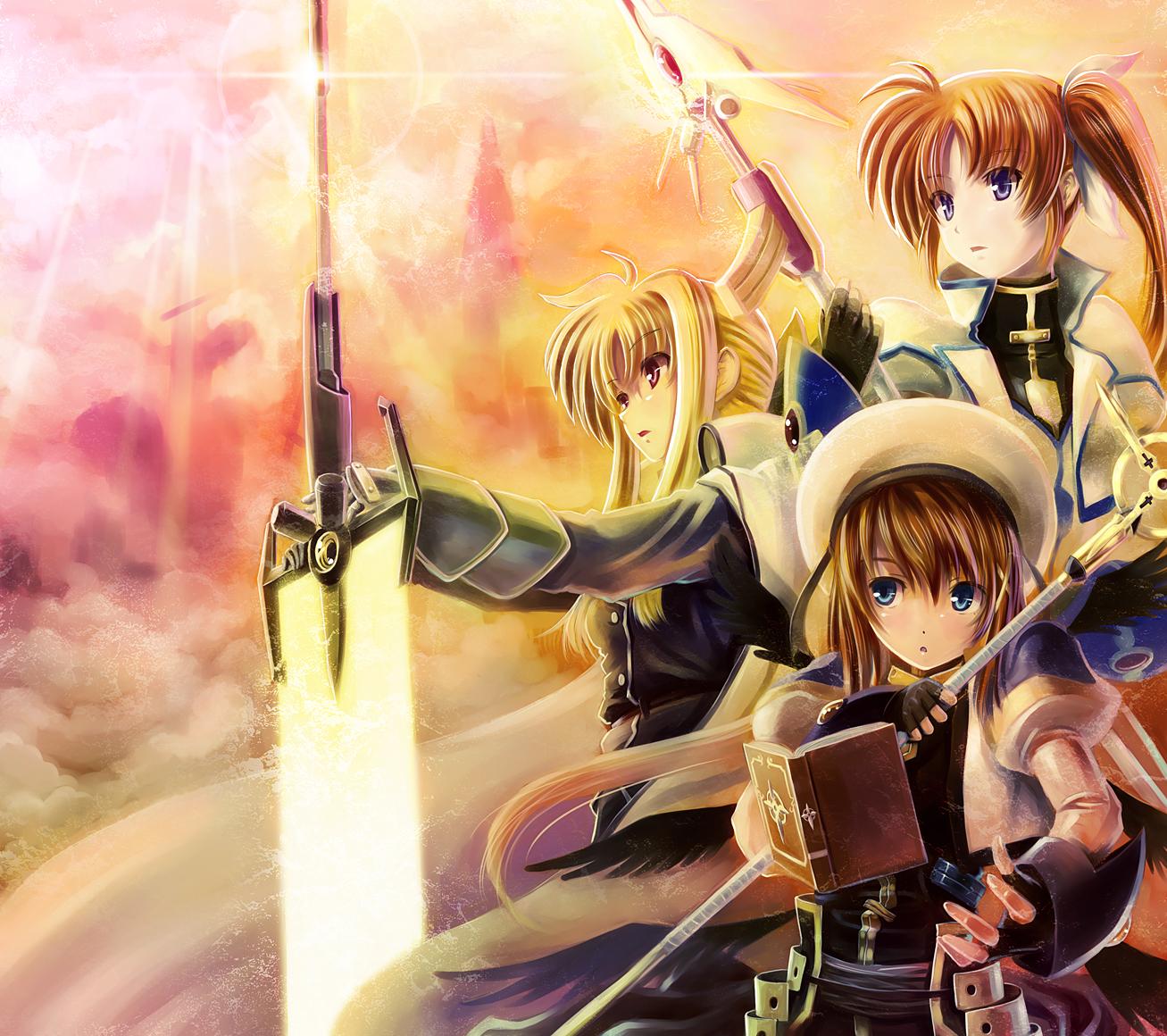 book fate_testarossa mahou_shoujo_lyrical_nanoha mahou_shoujo_lyrical_nanoha_strikers spear sword takamachi_nanoha weapon yagami_hayate