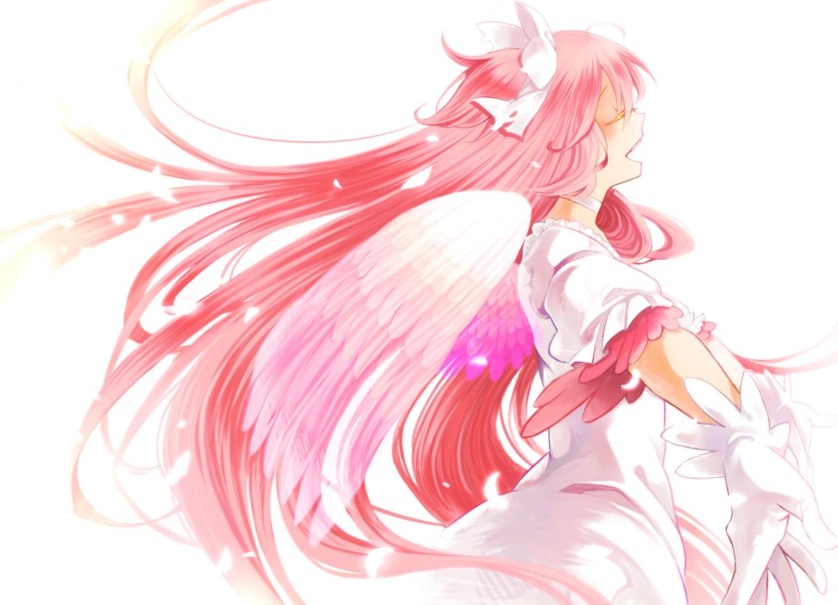dress kaname_madoka long_hair mahou_shoujo_madoka_magica pink_hair ultimate_madoka white wings