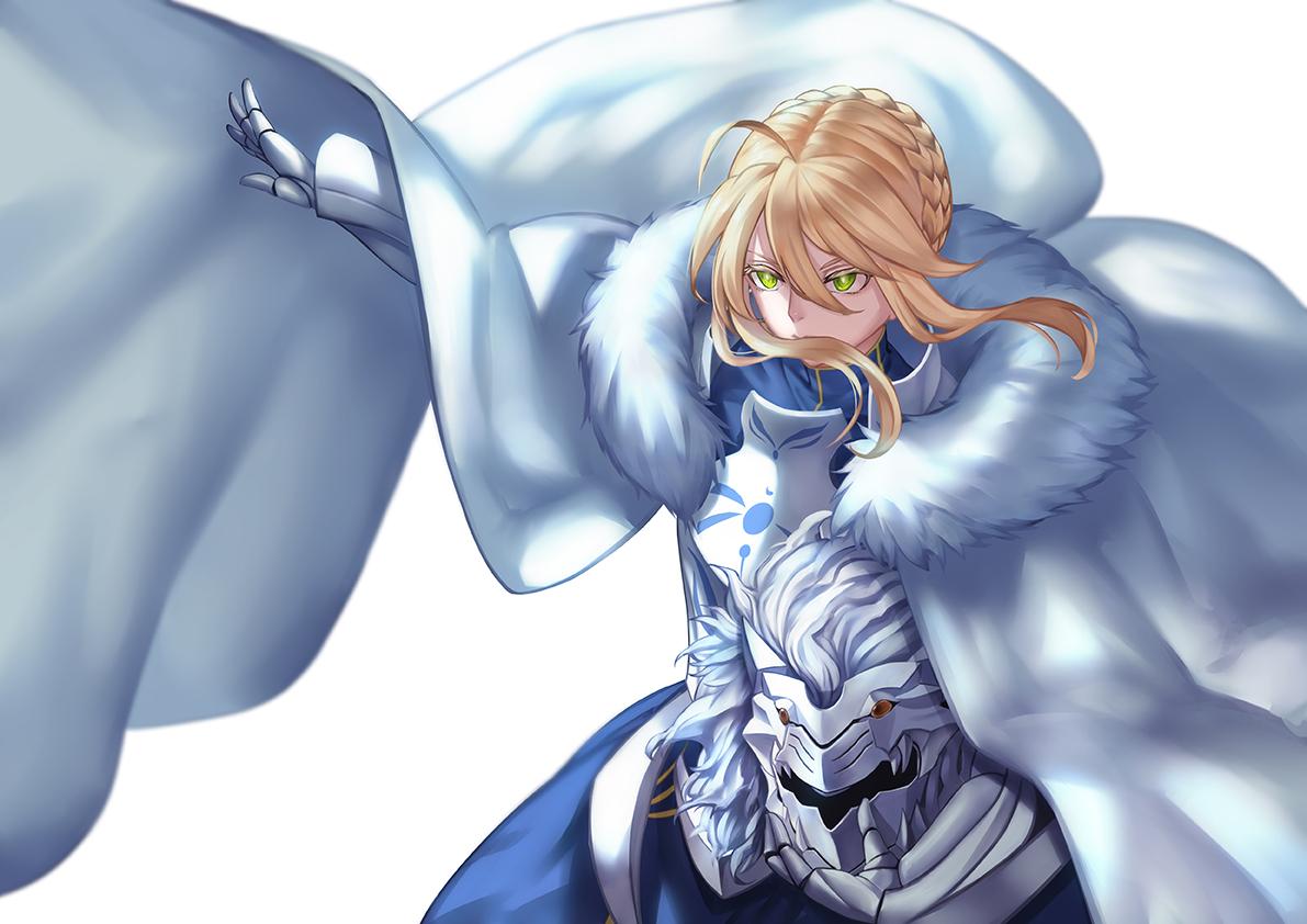armor artoria_pendragon_(all) artoria_pendragon_(lancer) blonde_hair braids cape dress fate/grand_order fate_(series) gloves green_eyes jacky short_hair