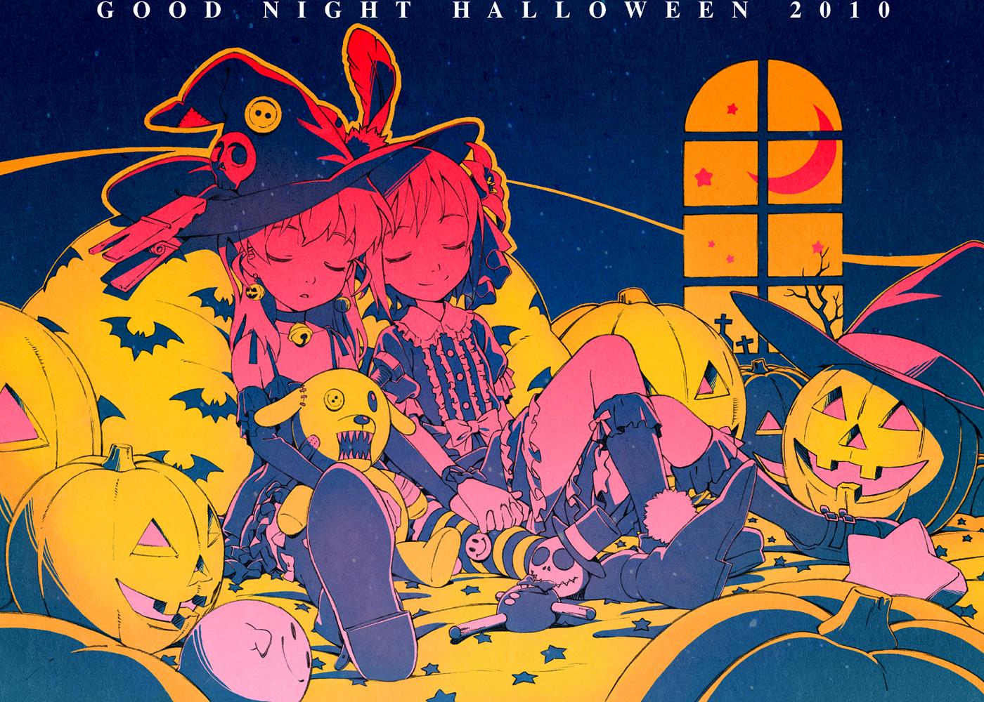 animal bat halloween hat moon pumpkin shiwasu_takashi sleeping stars tagme