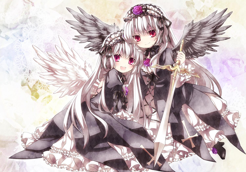 dress flowers moru red_eyes rose rozen_maiden suigintou sword weapon wings