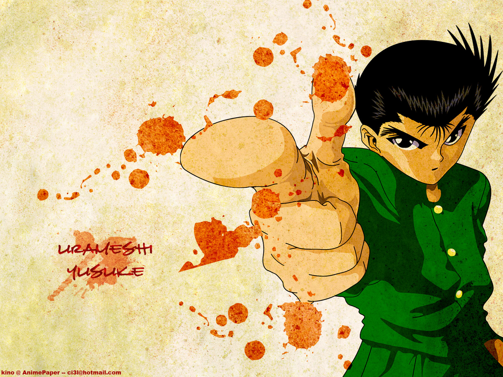 all_male black_eyes black_hair blood male short_hair signed urameshi_yuusuke yu_yu_hakusho