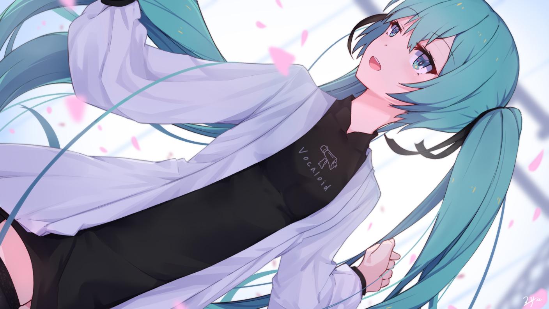 hatsune_miku petals vocaloid zhayin-san