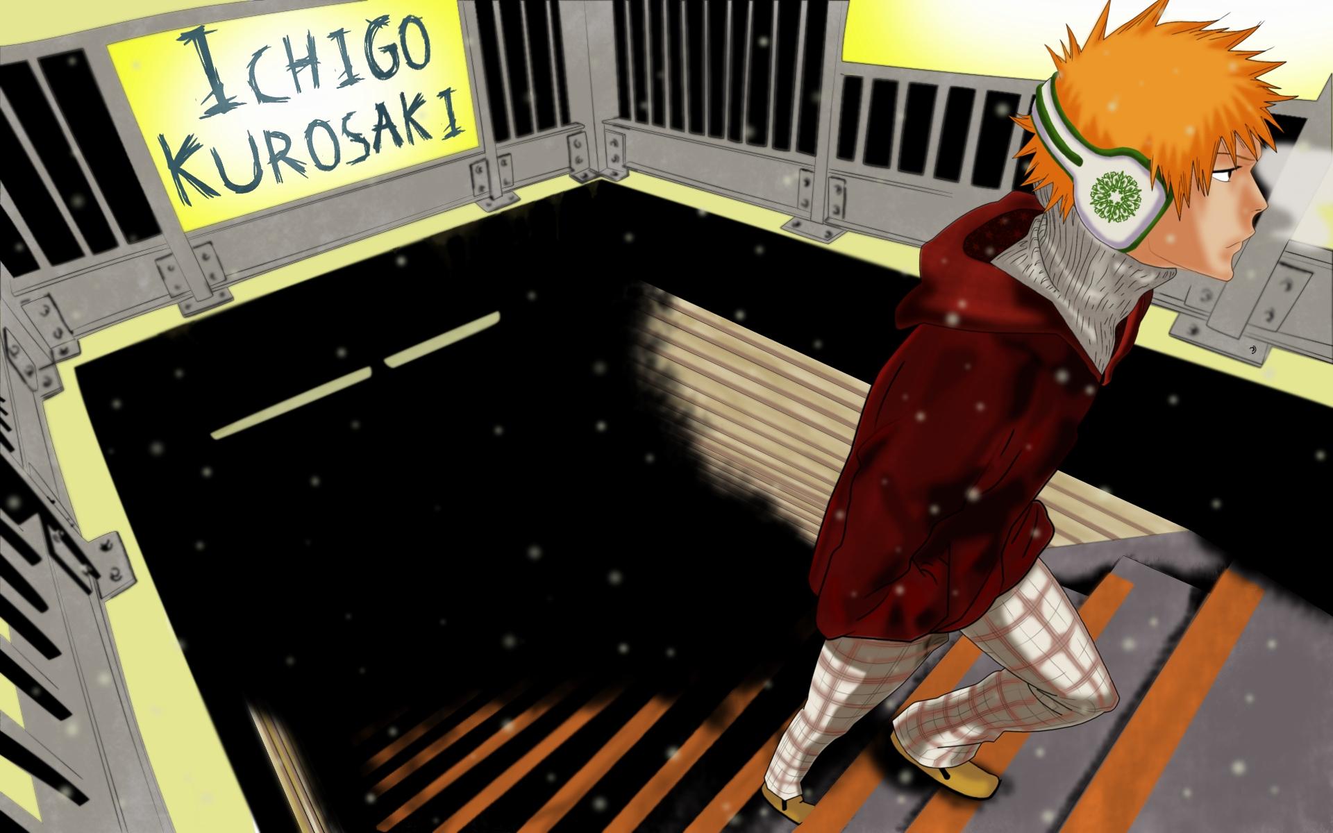 all_male bleach headphones kurosaki_ichigo male orange_hair short_hair snow stairs winter