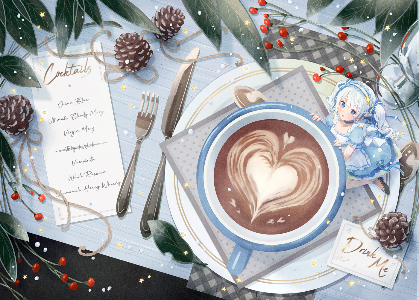 apron blue_eyes dress drink headdress leaves lolita_fashion original siting_zeng twintails white_hair