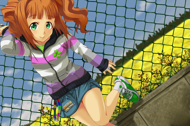 av_(artist) blush flowers green_eyes idolmaster orange_hair skirt takatsuki_yayoi twintails