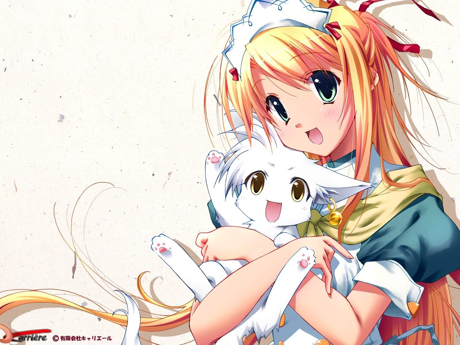 animal blonde_hair carriere fox green_eyes headdress koma_(carriere) logo long_hair sorune watermark white